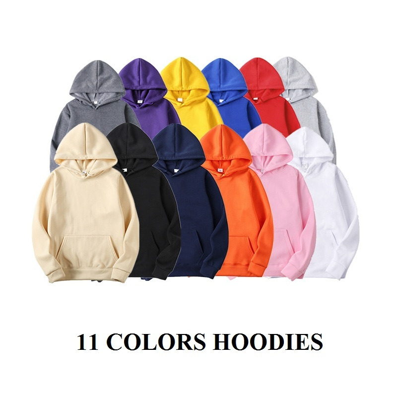 11 Colors Solid Hoodies Men Autumn Casual Hooded Plus Size Male Sweatshirts Fashion Long Sleeve Pocket Winter Couple Hoody Tops