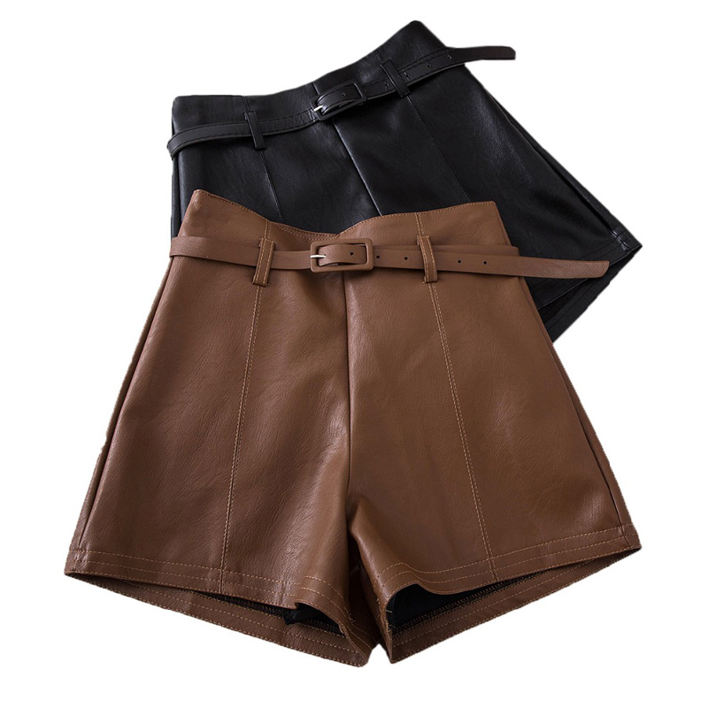 Casual PU Leather Shorts For Women High Waist Sashes Wide Leg Shorts 2020 Spring Summer Loose Elastic Waist Leather Shorts