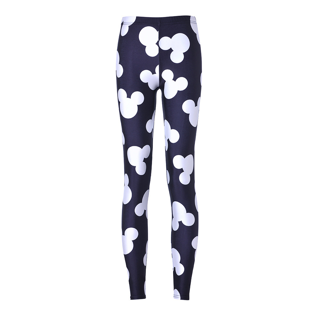 New European and American best selling digital printing black white Mickey nine leggings image