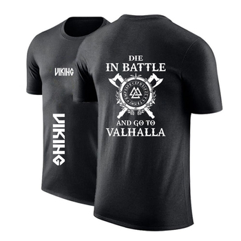 2020 Men Custom Odin Viking Die In Battle And Go To Valhalla Round Neck T shirt Decal Shirts Punk Print Casual Tops Sweatshirts 1