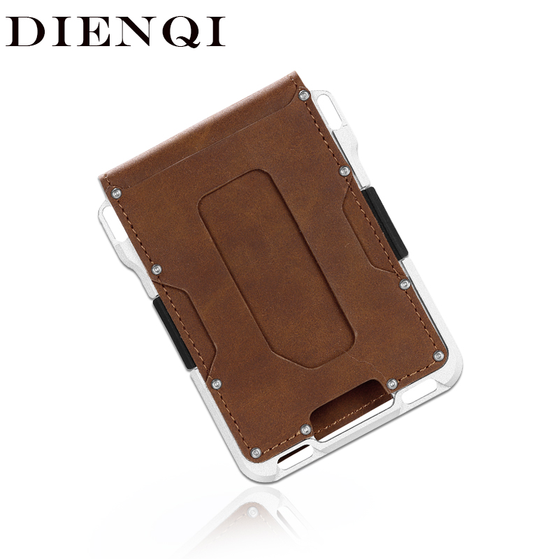 DIENQI Rfid Aluminium Metal Wallets Men Card Holder Small Short Magic Wallet Money Bag Vintage Male Trifold Leather Magic Wallet