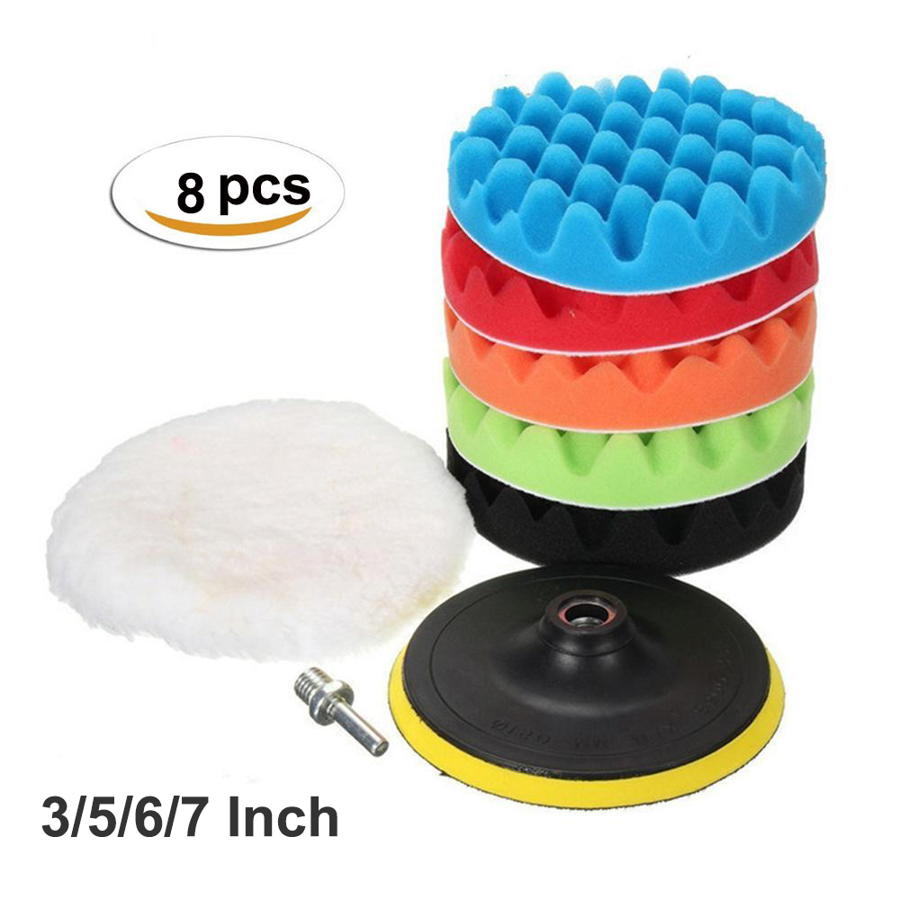 8 Pieces 3/5/6/7 Inch Buffing Pad Set Wave Sponge Polishing Pad Kit For Car Polisher Pads Wheel M14 Drill Adaptor Polisher Tools