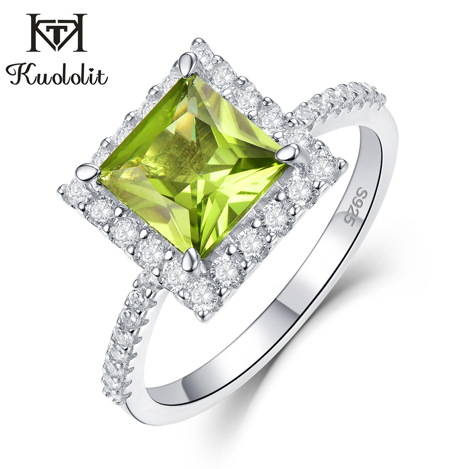 Image 4 - Kuololit 7x7mmNatural Peridot Gemstone Rings for Women Real 925  Sterling Silver Princess Cutting Wedding Engagement Fine JewelryRings