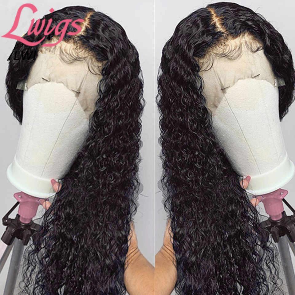 Onda brasileira peruca dianteira do laço de alta densidade 180 250 profunda encaracolado 360 laço frontal peruca descorada nós frente do laço perucas cabelo humano