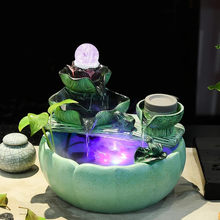 Modern Feng Shui Water Fountain Ornaments Indoor Water Wheel Waterscape Bonsai with Colorful Led Ball Crafts Lucky Opening Gift(China)