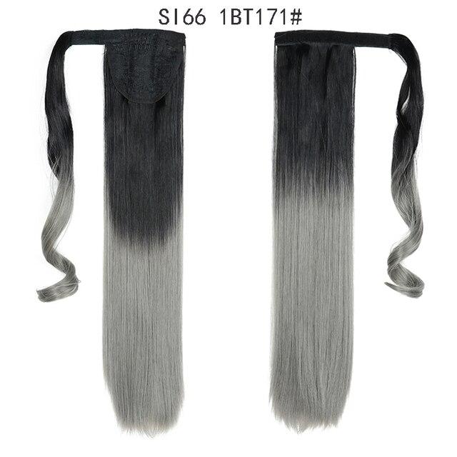 Coletero largo y liso para mujer, extensiones de cabello con Clip, peluca Natural, tocados, pelo sintético, marrón, gris, 613