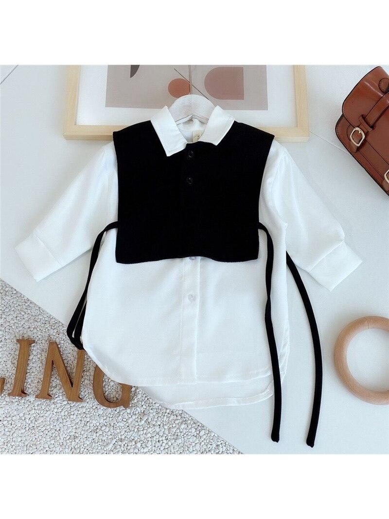 Shirt Costume Blouse Long-Tops White Little-Girls Korean Fashion Children Cute Autumn