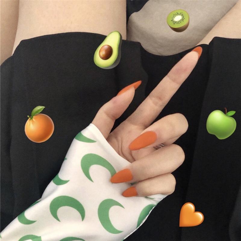 24Pcs Full Cover Press On Pointed Head Scrub Fresh Temperament Orange False Nails Matte Wearable Stiletto Fake Nails With Glue