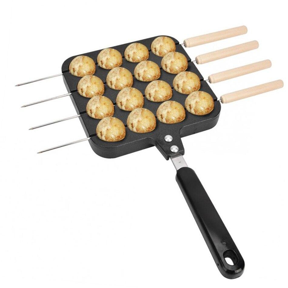 VOGVIGO 16holes Takoyaki Pan Non-stick Cast Aluminum Home DIY Baking Tray For Japanese Style Octopus Eggs Meatball