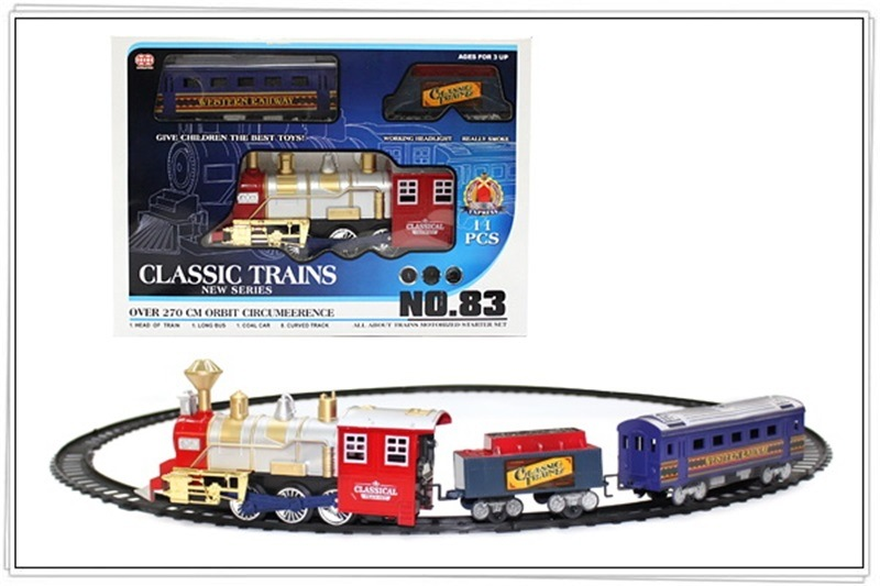 Electric Light Smoke Rail Train Model Model Classic Steam Christmas Train CHILDREN'S Toy Set