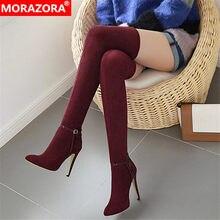 MORAZORA 2020 vendita calda sopra il ginocchio stivali donne fibbia sexy degli alti talloni del partito scarpe da sposa donna autunno inverno Stretch stivali