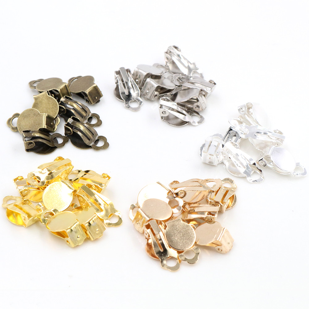 10mm 50pcs/lot High Quality 5 Colors Plated Iron Material Ear Clips ,Earrings Blank/Setting Base,Fit 10mm Glass Cabochons