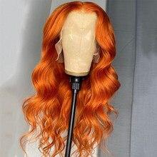 Perruque Lace Front Wig Body Wave brésilienne Remy, cheveux naturels, rose, rouge, violet, bleu, jaune, 613, Transparent, blond