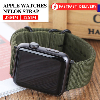 Hot Sell Nylon Watchband for Apple Watch Band Series 5/4/3/2/1 Sport Leather Bracelet 42mm 44mm 38mm 40mm Strap For iwatch - discount item  30% OFF Watches Accessories