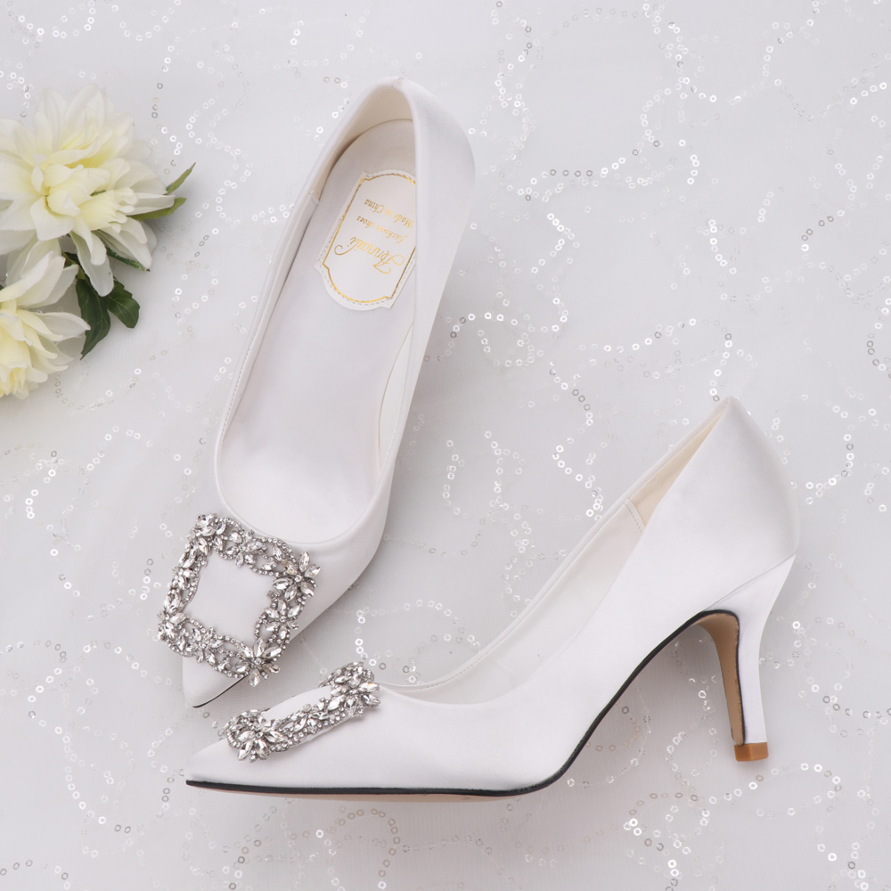 White Wedding Shoes Pointed 7CM 9CM High Heel Diamond Bride shoes Small Fat Big Size 33 US 4 Dress Banquet Lady Pumps(China)