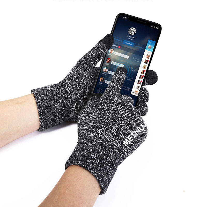 Autumn And Winter Touch Screen Warm Padded Wool Knit Gloves Fashion Men And Women Outdoor Sports Slip Wear Full Finger Gloves