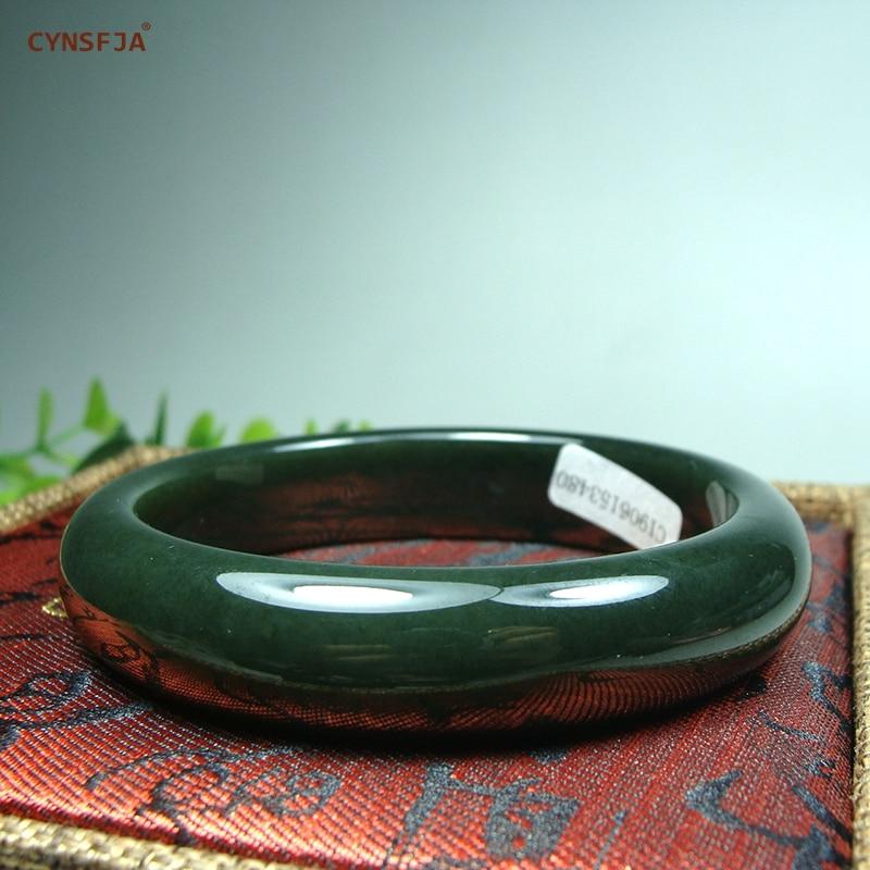 CYNSFJA vrai Rare certifié naturel chinois Hetian Jade femmes amulette Bracelet de Jade taille 59mm bijoux fins de haute qualité meilleurs cadeaux