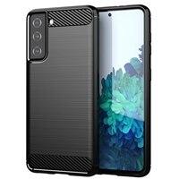 Funda de teléfono con textura cepillada para Samsung Galaxy S, funda de lujo de fibra de carbono, a prueba de golpes, Ultra Lite FE, 21, 20, 10, 9, 8 Plus