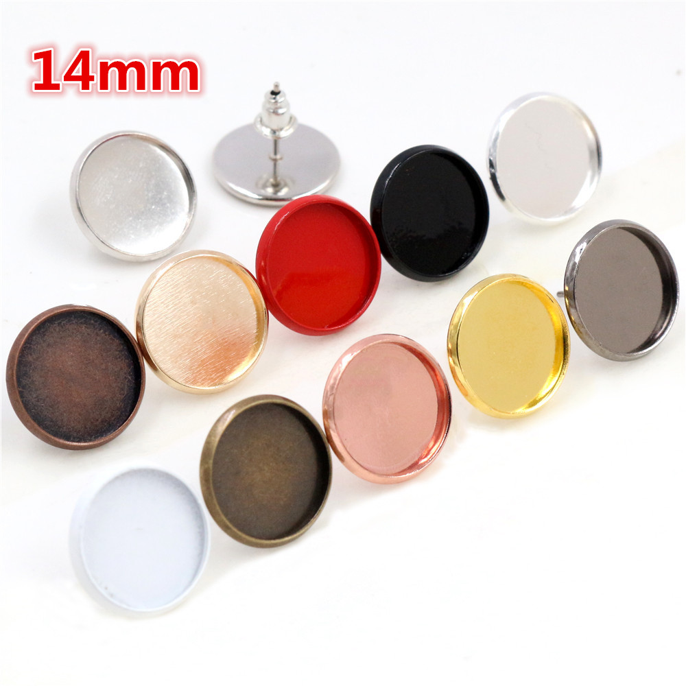 14mm 20pcs 11 Colors Plated Earring Studs,Earrings Blank/Base,Fit 14mm Glass Cabochons,earring Setting;Earring Bezels