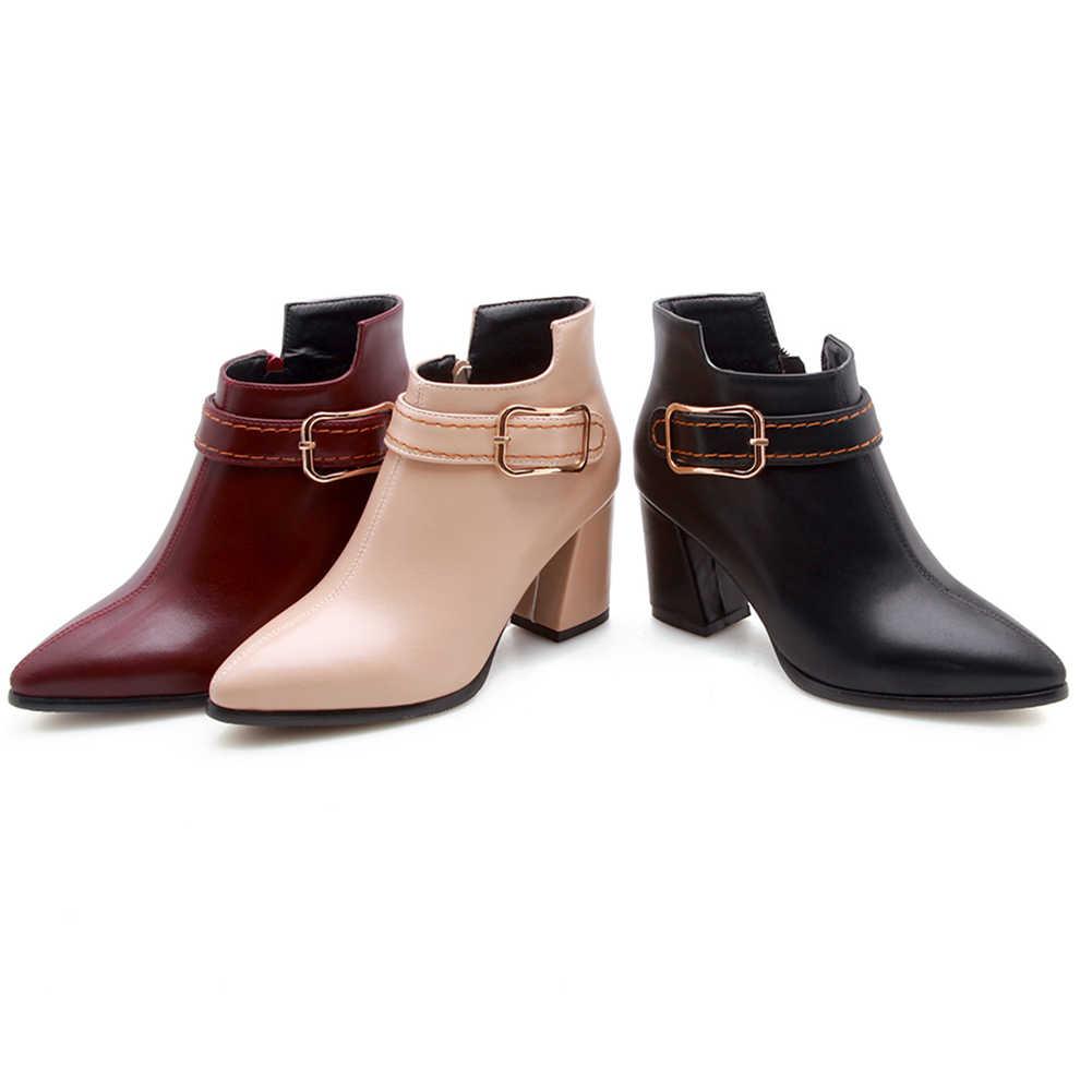 KARINLUNA INS หญิง 2020 แฟชั่นรองเท้าเซ็กซี่โลหะ Square Heel ข้อเท้ารองเท้าผู้หญิง Pointed Toe เย็บรองเท้าผู้หญิง
