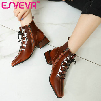 ESVEVA 2020 Women Shoes Winter Ankle Boots All Match Pointed Toe Patent Leather+PU Square High Heel Motorcycle Boot Size 34-43
