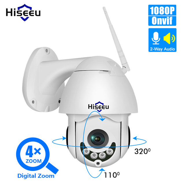 Hiseeu 1080P Wireless PTZ Speed Dome IP Camera WiFi Outdoor Two Way Audio CCTV Security Video Network Surveillance Camera P2P