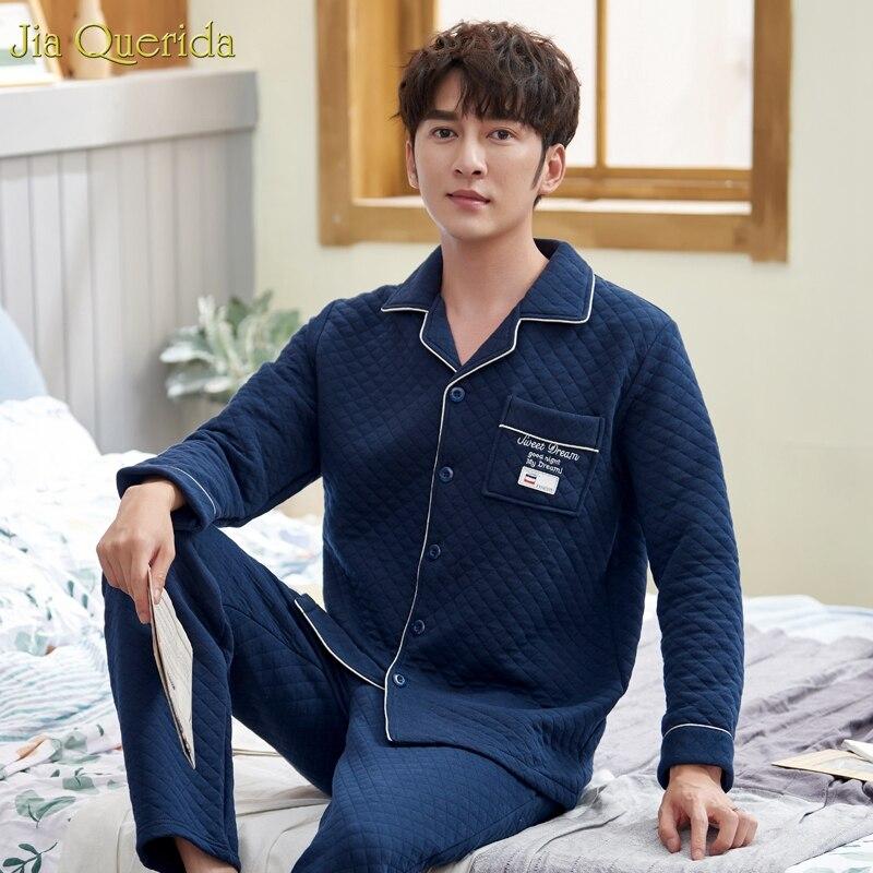 Winter Pajamas Men 100% Cotton Fabric Light Polyester Padded Diamond Pattern Royal Blue Plus Size Pijama Man Set Home Wear Warm