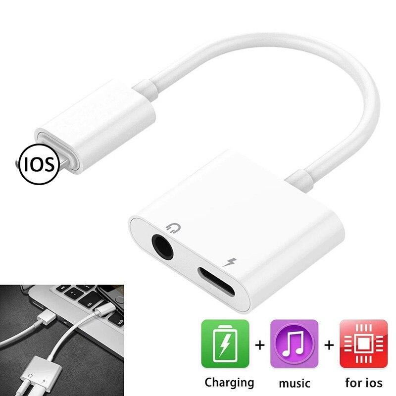 2-в-1 сплиттер адаптер 3,5 мм разъем для наушников аудио AUX кабель-адаптер конвертер для наушников iPhone 7 зарядки музыка вызова