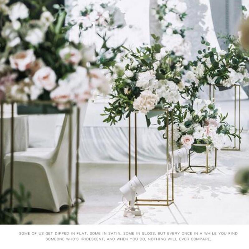 Prop Floor Geometric Event Column Vase Iron Flower Wedding Art Stand Decoration Party Rustproof 2pcs Rack Detachable Centerpiece