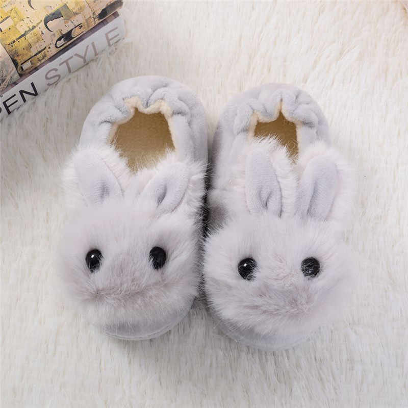 Children Cotton Shoes Kids Home Slippers Boys And Girls Baby Cute Rabbit Ears Plush Ball Thickening Warm Indoor Shoes 5