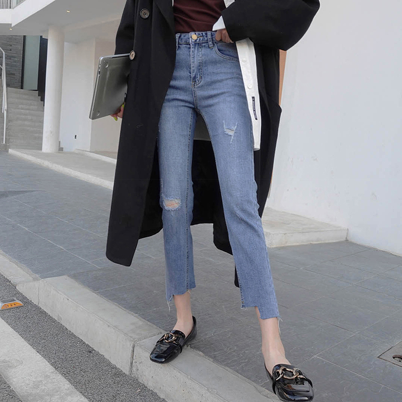 Woman Ripped Skinny Jeans High Waist Clothes Blue Denim Clothing Streetwear Vintage Quality 2020 Stretch Fashion Harajuku