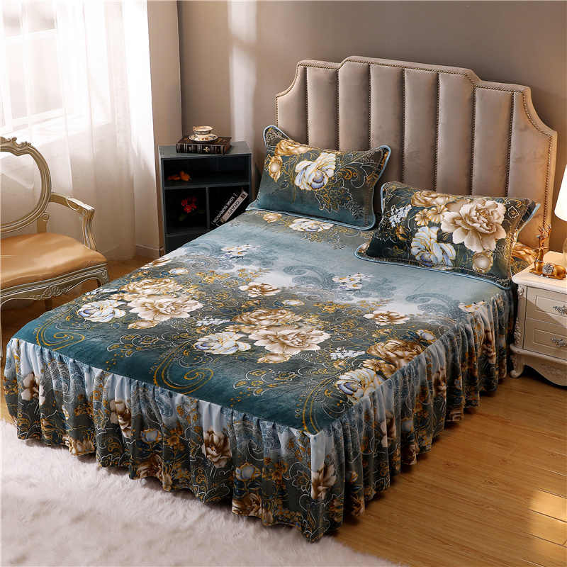 Luxury Softest Warm Fleece Bed Skirt Set with Elasti Ruffles Blossom printed Ultra Soft Warm Bedskirt Bedsheet for 160x200CM Bed