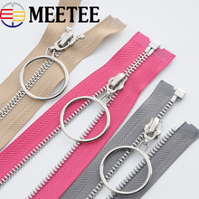 Eco-friendly Open-End Metal Zippers 5# 85cm Silver O Ring Zipper Zip For Sewing Down Coat Garments Accessories