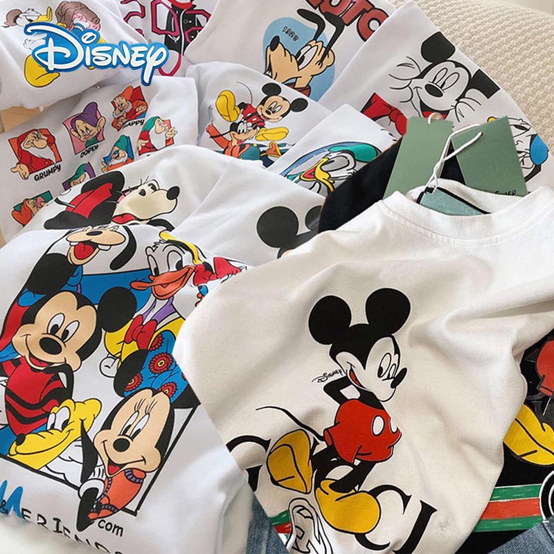 Disney 2020 T-shirt Women Cartoon Mickey Minnie Mouse Women Short Summer Regular T Shirt O-Neck White Tops Tee Shirt Loose Femme