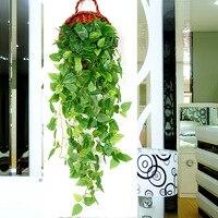 Wall mounted Planta Artificial Cesta de Suspensão Rattan Planta Floricultura Artificial Simulado Plantas Parede Parede Verde da Vegetação|  -