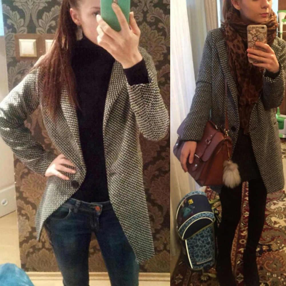 S-XL Casual Vrouwen Wollen Lange Jas Vrouwen 2019 Winter Effen Kleur Losse Vrouwelijke Dunner Wol Blend Coat