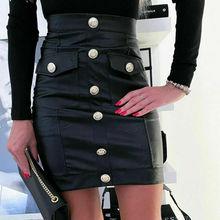 Fashion Womens PU Leather Skirts High Waist Mini Skirt Bodycon Pencil Dress Club Party Skirts
