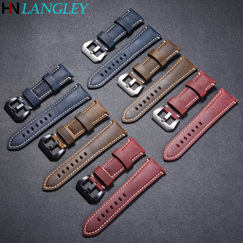 High Quality Vintage Crazy Horse Genuine Leather Watchband Watch Straps 22mm 24mm 26mm Width Wristband Solid Buckle