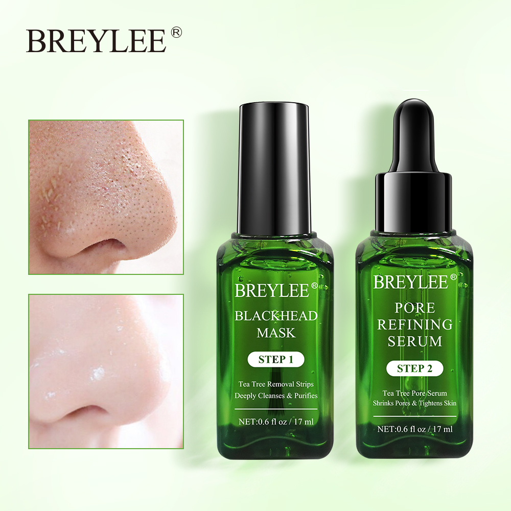 BREYLEE Skin Care Black Mask Blackhead Remover Face Mask Acne Treatment Serum Shrinks Pore Essence Peeling Off Sheet Facial Mask