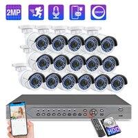 Techage 16CH 1080P POE NVR Security Camera System 16pcs 2MP HD Audio Sound Record CCTV Security Video Surveillance Kit P2P XMeye