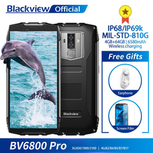 "Blackview BV6800 Pro Android 8.0 Outdoor Mobiele Telefoon 5.7 ""MT6750T Octa Core 4Gb + 64Gb 6580Mah waterdichte Nfc Robuuste Smartphone"
