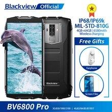 "Blackview bv6800 pro android 8.0 ao ar livre do telefone móvel 5.7 ""mt6750t octa núcleo 4gb + 64gb 6580mah impermeável nfc áspero smartphone"