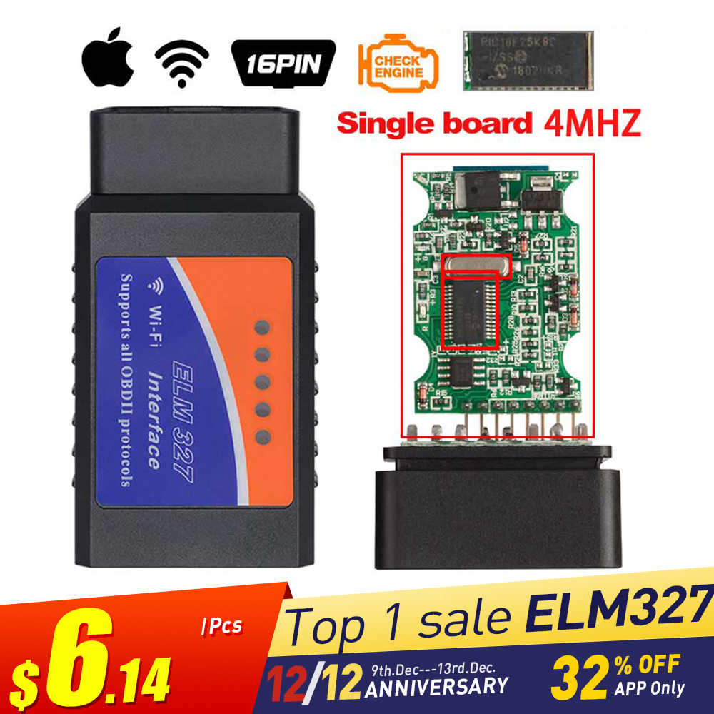 ELM327 V1.5 Bluetooth/Wifi OBD2 V1.5 Mini Elm 327 Bluetooth PIC18F25K80 Chip Auto Diagnostic Tool OBDII for Android/IOS/Windows