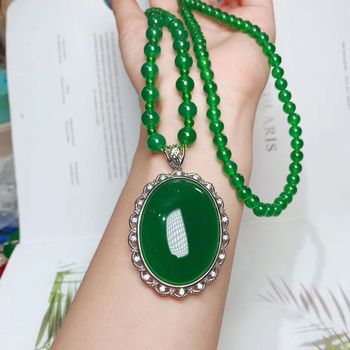 Natural gourd round beads green jade pendant with 925 sterling silver pendants necklaces add chain jade jewelry