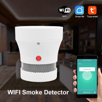 Tuya WiFi czujnik dymu ochrona przeciwpożarowa detektor dymu czujnik Alarm przeciwpożarowy System alarmowy do domu strażacy nie obejmują baterii tanie i dobre opinie CPVan CN (pochodzenie) FSD001W Czujka dymu Smoke detector WIFI Smoke detector Sensor fire alarm fire Detector WiFi Smoke Alarm