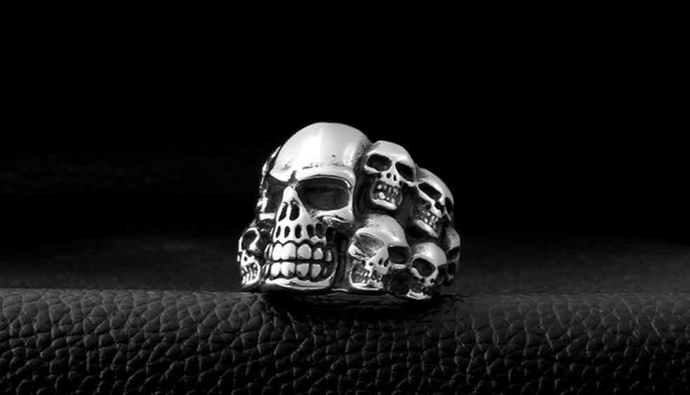 Moda Unissex Crânio dos homens Anel de Aço Inoxidável Jóia do Anel de Prata Ajustável Punk Rock Esqueleto Anel