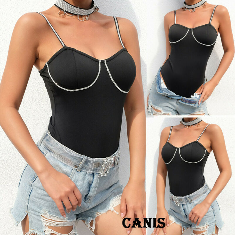 Women Sleeveless Shirts Bodysuit Top Stretch Leotard Tops   Jumpsuit   Romper Vest Womens Sling Bodysuits