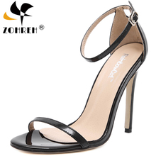 Fashion Classics Brand ZA R Peep toe Buckle trap Stiletto High Heels Sandals Shoes Woman Blue White Red Wedding Shoes Factory 43 deleventh classics sexy women red wedding shoes peep toe stiletto high heels shoes woman sandals black red nude big size 43 us10