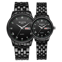 1 Pair Couple Watch Stainless Steel Ladies Wrist Watch Date Week Luminous Lovers Watch Gift Box Quartz Watches For Men Women
