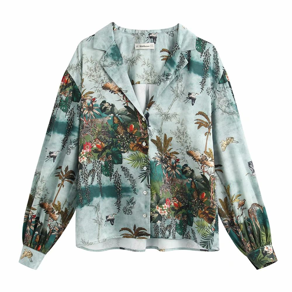 Women Vintage Ink Painting Animal Leaves Casual Smock Blouse Women Long Sleeve Chic Chemise Femininas Kimono Shirts Tops LS6366